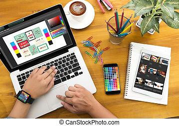 creativo, diseñador, gráfico, en, work., swatch del color, muestras, ilustrador, diseñador gráfico, trabajando, tableta de digital, y, computadora