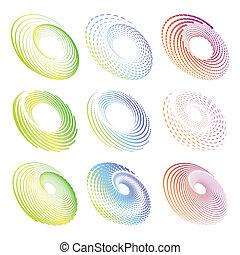 creativo, diseño, círculo, y, redondo, simétrico, elementos