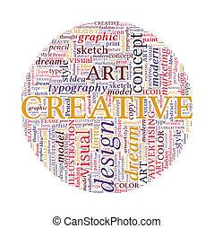 creativo, diseño, concepto, -, colorido, palabra, nube, en, círculo