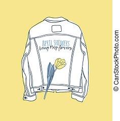 creativo, disegnato, circa, attuale, aprile, inchiostro, giacca, mano, flowers., maggio, illustrazione, tempo, disegno, portare, work., docce, vettore, text., divertente, jeans, arte, citazione