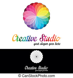 creativo, estudio, logotipo, plantilla