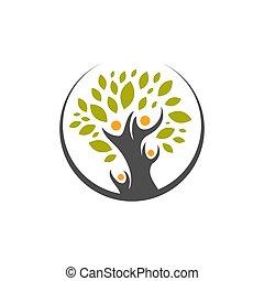 creativo, famiglia umana, concetto, illustrazioni, logotipo, vettore, icona, albero