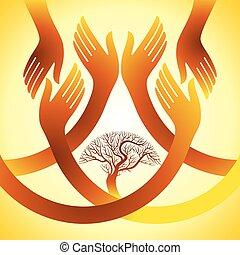 creativo, gruppo, di, mani