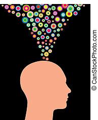 creativo, hombre, pensamientos