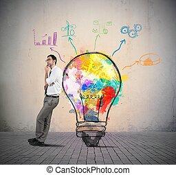 creativo, idea negocio