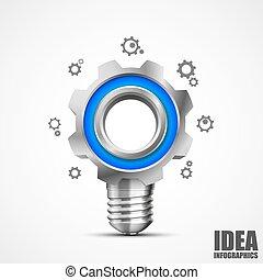 creativo, illuminazione, idea, ingranaggio
