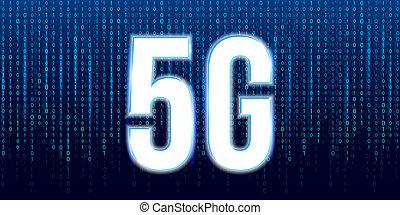 creativo, illustrazione, di, 5g, segnale, trasmissione, tecnologia, nuovo, internet fili, wifi, collegamento, fondo., arte, disegno, comunicazione, network., concetto astratto, mobile, bandiera, grafico, elemento