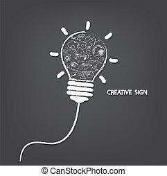 creativo, lampadina, scrittura, stile, con, idea affari,...