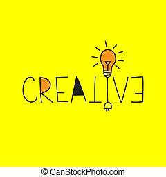 creativo, letras, vector