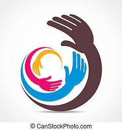creativo, mano, icona, disegno