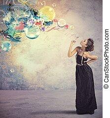 creativo, moda, con, sapone, palla