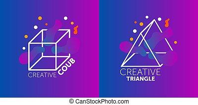 creativo, moderno, sagoma, disegno, logotipo, posto, tuo, simbolo, testo, astratto, grafico, vettore