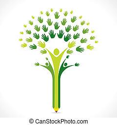 creativo, niños, lápiz, mano, árbol