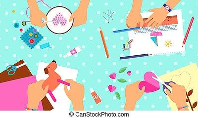 creativo, niños, laboratorio