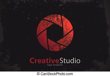 creativo, obturador, cámara, estudio, logotipo, logo., ...