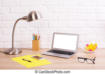 creativo, oficina, escritorio, con, computador portatil