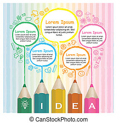 creativo, plantilla, infographic, con, colorido, lápices, dibujo, línea