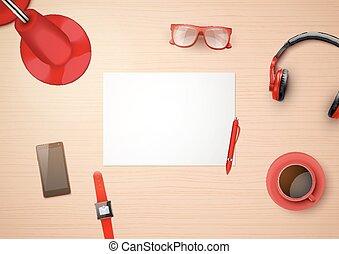 creativo, posto lavoro, con, bianco, carta, e, stilizzato, in, rosso, colorare, famiglia, items., cima, vista.
