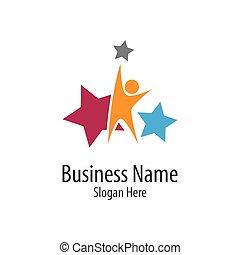 creativo, prendere, capretto, stella, logotipo, icona
