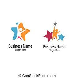 creativo, prendere, stella, logotipo, vettore, icona