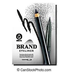 creativo, promo, bandiera, eyeliner, matite, vettore