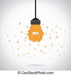 creativo, puzzle, lampadina, idea, concetto, fondo