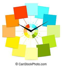 creativo, reloj, diseño, con, pegatinas, para, su, texto