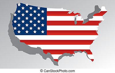 creativo, resumen, estados unidos de américa, mapa