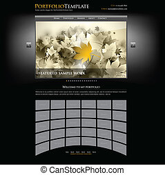 creativo, sitio web, cartera, plantilla, para, diseñadores, y, fotógrafos, -, editable, vector