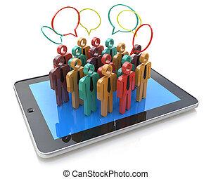 creativo, social, medios, internet, comunicación, y, empresa / negocio, mercadotecnia, corporativo, tela, concept:, grupo, de, 3d, color, gente, figuras, en, computadora personal tableta, computadora