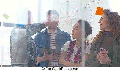 creativo, squadra, con, tabelle, su, ufficio, vetro, asse