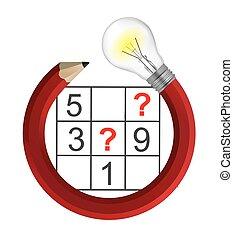 creativo, sudoku, cuadrícula, rompecabezas, bulb., lápiz