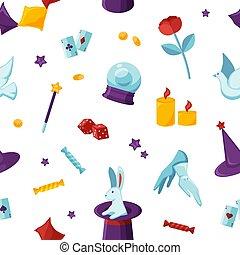 creativo, theurgical, design., vector, papel, papel pintado, pattern., cosas, tela, mago, magia, envoltura, seamless, texture., artículos, textil, adivino, mago, attributes, fondo.