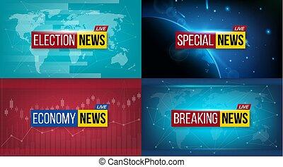 creativo, vector, ilustración, de, romper noticias, fondo., mundo, deportes, tiempo, financiero, político, cultura, ciencia, mañana, noche, diario, tarde, economía, música, elección, especial, función de tv