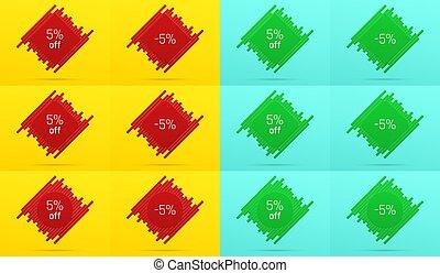 creativo, vendita, bandiera, con, 5%, via., offerta