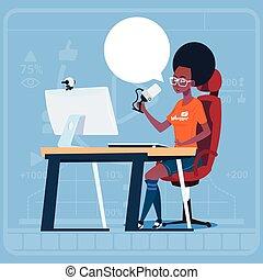 creatore, blogger, blogs, sedere, vlog, flusso continuo, americano, computer, video, africano, popolare, ragazza, canale