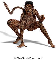 creature., übertragung, aus, hirsch, ausschnitt, fantasie, weibliche , pfad, schatten, weißes, 3d