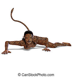creature., レンダリング, 上に, 鹿, 切り抜き, ファンタジー, 女性, 道, 影, 白, 3d