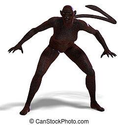 creature., fantasie, aus, panther, ausschnitt, übertragung, weibliche , pfad, schatten, weißes, 3d