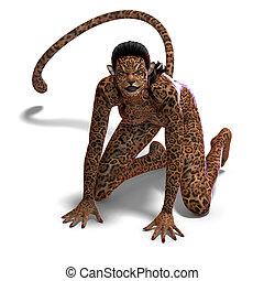 creature., fazendo, sobre, veado, cortando, fantasia,...