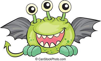 Illustration of a flying green devil