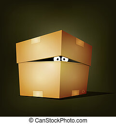 Creature Inside Birthday Cardboard Box - Illustration of a...