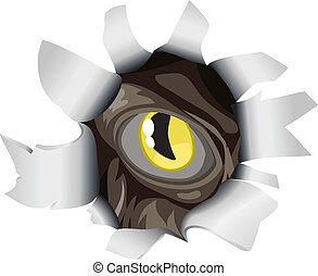 An evil creature eye peering through a hole torn in the background