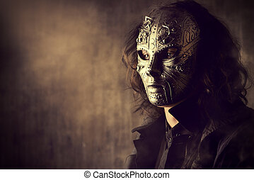 creature - Portrait of a mysterious man in iron mask....