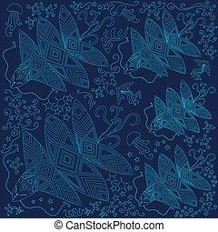 creatures., bannière, monochrome, fantastique, océan