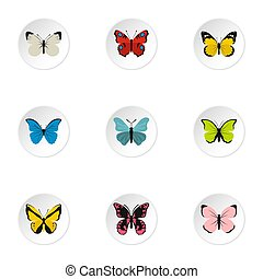Creatures butterflies icons set, flat style