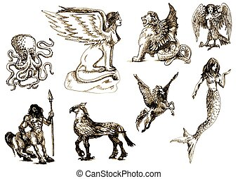 Creatures - Mythological Creatures vector pack - An hand...