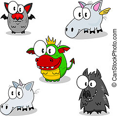 Some cartoon creatures of fantasy (vampire, pegasus, dragon, unicorn, werewolf).