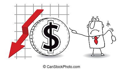 crecer, abajo, dólar
