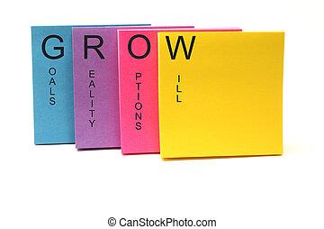 crecer, concepto, notas pegajosas